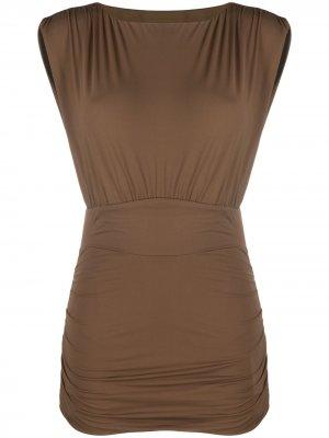 Приталенное платье из джерси Marysia. Цвет: коричневый