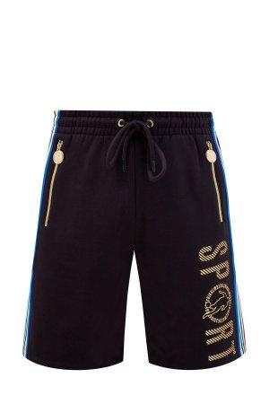 Спортивные шорты из хлопка с лампасами и светоотражающим декором BIKKEMBERGS. Цвет: черный
