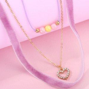 3шт Ожерелье с декором сердца SHEIN. Цвет: многоцветный
