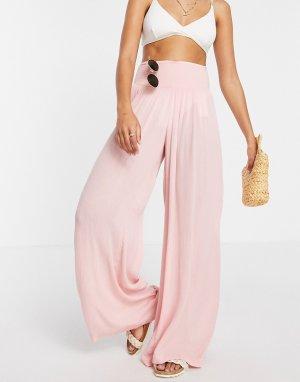 Розовые пляжные брюки с широкими штанинами -Розовый цвет Vero Moda
