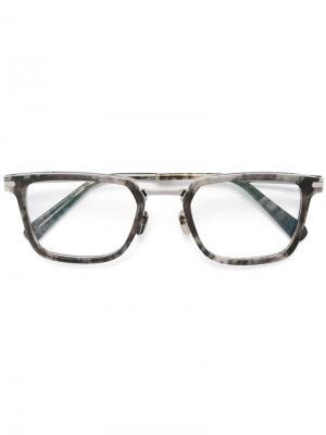 Очки с прямоугольной оправой Brioni. Цвет: серый