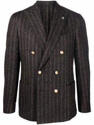 Двубортный пиджак в тонкую полоску Lardini. Цвет: коричневый