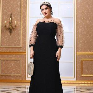 Размера плюс Вечернее платье с открытыми плечами сетчатой отделкой макси SHEIN. Цвет: чёрный