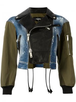 Куртка-бомбер из трех материалов Dsquared2. Цвет: чёрный