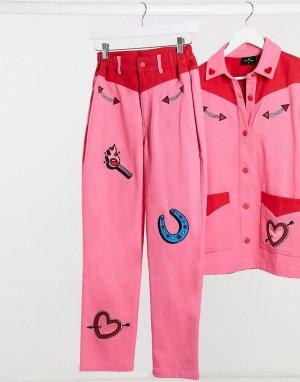 Прямые джинсы от комплекта в ковбойском стиле с нашивками -Розовый Lazy Oaf