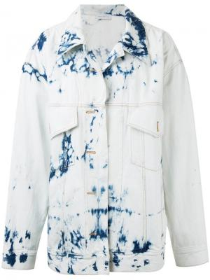 Джинсовая куртка с узором тай-дай Faith Connexion. Цвет: белый