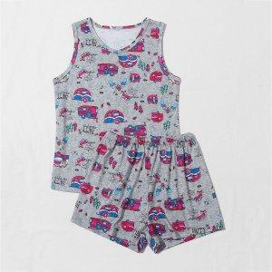 Пижама с принтом машины для девочек SHEIN. Цвет: серые