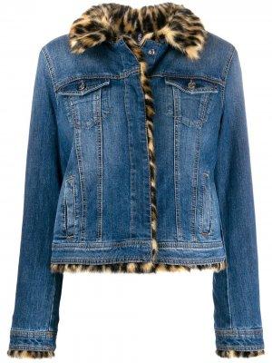 Джинсовая куртка с искусственным мехом LIU JO. Цвет: синий
