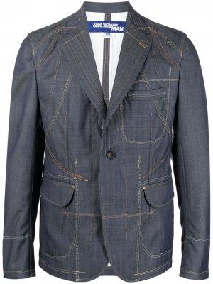Однобортный пиджак из денима Junya Watanabe. Цвет: синий