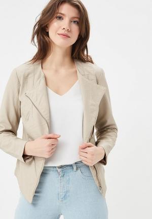 Куртка кожаная SH. Цвет: бежевый