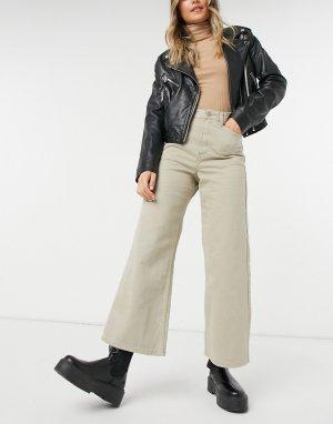 Укороченные джинсы с широкими штанинами цвета кешью Aiko-Коричневый цвет Dr Denim