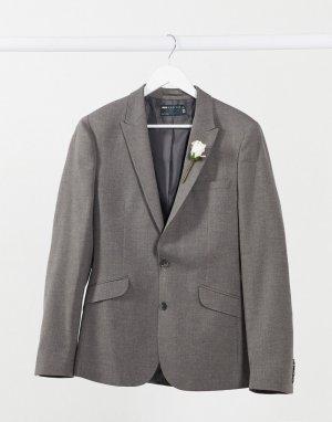 Темно-серый супероблегающий фактурный жакет Wedding ASOS DESIGN