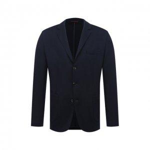 Пиджак из шелка и хлопка Brunello Cucinelli. Цвет: синий