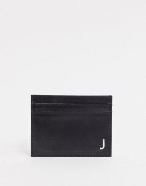 Кожаный кошелек для карт с инициалом J -Черный Peter Werth