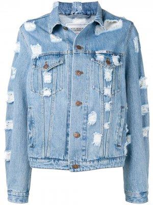 Джинсовая куртка с эффектом потертости Forte Dei Marmi Couture. Цвет: синий