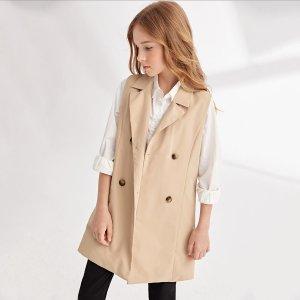 Для девочек Пальто с воротником двубортный без блузки SHEIN. Цвет: хаки