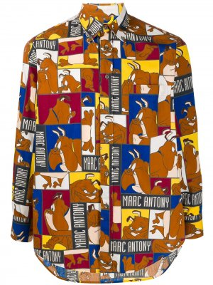 Рубашка 1980-х годов с принтом Marc Antony JC de Castelbajac Pre-Owned. Цвет: коричневый