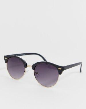 Круглые солнцезащитные очки с золотистой оправой -Золотой New Look