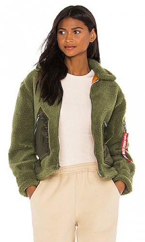 Куртка из искусственного меха utility ALPHA INDUSTRIES. Цвет: зеленый