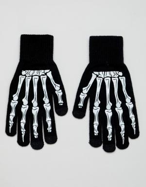Черные перчатки для сенсорных гаджетов с принтом скелета Halloween ASOS DESIGN. Цвет: черный