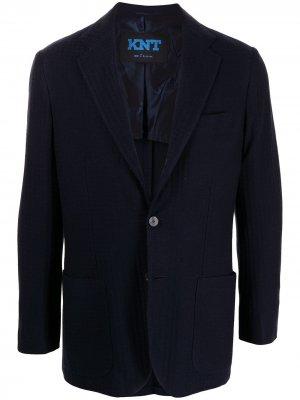 Однобортный пиджак в ломаную клетку Kiton. Цвет: синий