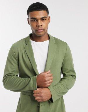 Трикотажный пиджак облегающего кроя из джерси цвета хаки -Зеленый ASOS DESIGN