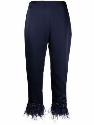 Укороченные брюки с перьями Jenny Packham. Цвет: синий