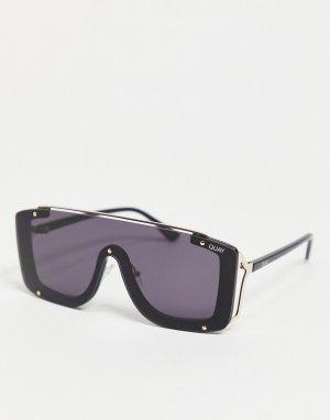 Черные женские солнцезащитные очки с козырьком Quay Hold For Applause-Черный Australia