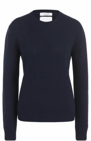 Кашемировый пуловер с заклепками Valentino. Цвет: темно-синий