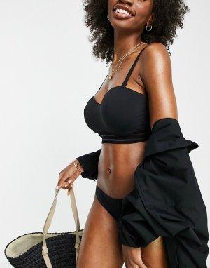 Черный бикини топ-бандо на косточках для большой груди Fuller Bust Cara-Черный цвет Figleaves