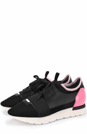Комбинированные кроссовки Race с контрастной вставкой Balenciaga. Цвет: черный