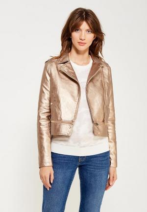 Куртка кожаная B.Style BS002EWWVU52. Цвет: золотой