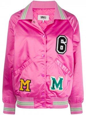 Куртка-бомбер MM6 Maison Margiela. Цвет: розовый