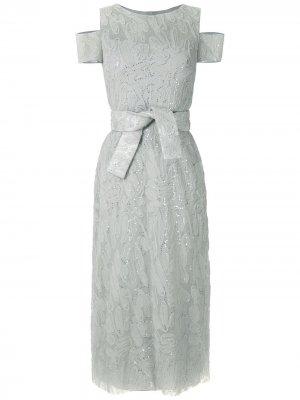 Платье миди с вышивкой пайетками Gloria Coelho. Цвет: серебристый
