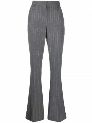 Расклешенные брюки в тонкую полоску MSGM. Цвет: серый