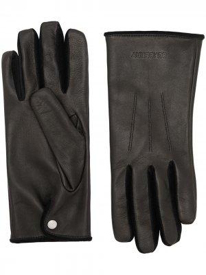 Перчатки с тисненым логотипом Burberry. Цвет: черный