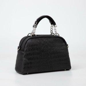 Саквояж, отдел на молнии, наружный карман, длинный ремень, цвет чёрный TEXTURA
