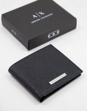 Черный кошелек для монет с логотипом -Черный цвет Armani Exchange