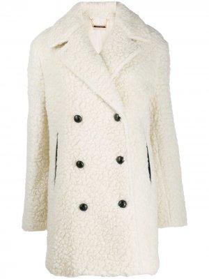 Пальто с эффектом плюшевой пряжи By Malene Birger. Цвет: белый