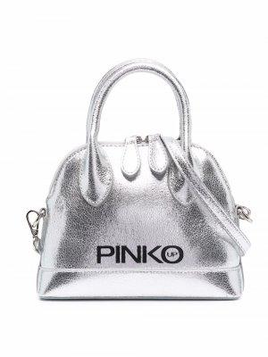 Сумка с эффектом металлик Pinko Kids. Цвет: серебристый