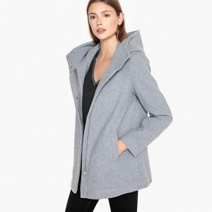 Пальто с воротником-стойкой из шерстяного драпа VERO MODA. Цвет: светло-серый