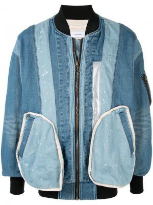Джинсовая куртка-бомбер в технике пэчворк Facetasm
