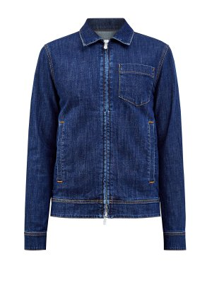 Джинсовая куртка ручной работы с контрастной прострочкой ELEVENTY. Цвет: синий