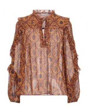 Блузка ULLA JOHNSON. Цвет: коричневый