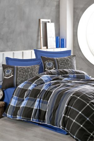 Single Quilt Cover Set Cotton box. Цвет: blue, grey, black