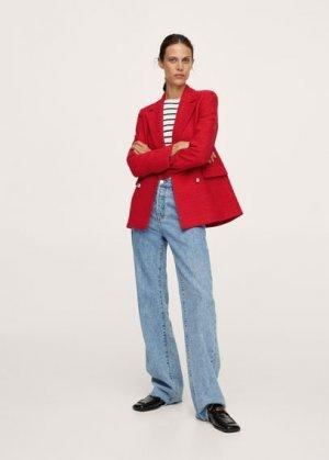 Твидовый пиджак с пуговицами - Gold Mango. Цвет: красный