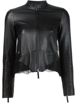 Кожаная куртка с кружевными вставками Roberto Cavalli. Цвет: чёрный
