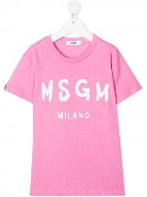 Logo-print short-sleeved T-shirt Msgm Kids. Цвет: розовый