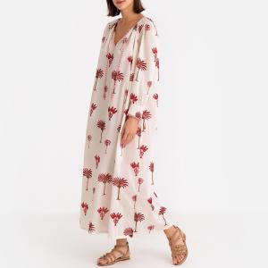 Платье длинное с длинными рукавами PALMIO LONGDRESS ANTIK BATIK. Цвет: наб. рисунок красный