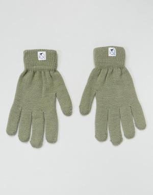 Перчатки с отделкой для пользования сенсорным экраном 7X. Цвет: зеленый